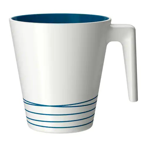 "HURRIG Mug, white, turquoise Height: 4 "" Volume: 8 oz  Height: 9.5 cm Volume: 25 cl"