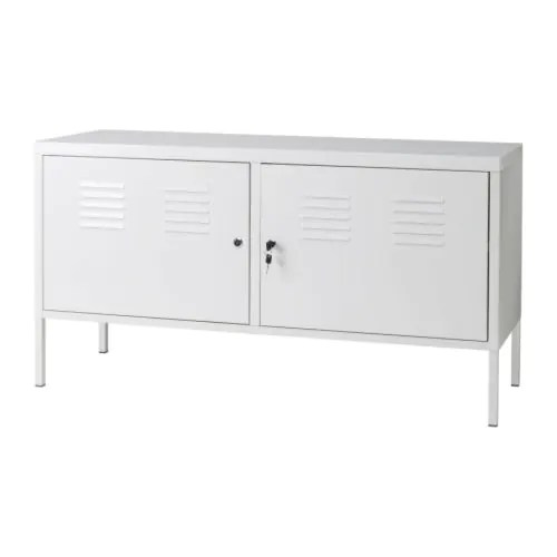 IKEA PS Cabinet IKEA A cord outlet underneath makes it easy to gather all cords in one place. The door is lockable so your possessions stay safe.