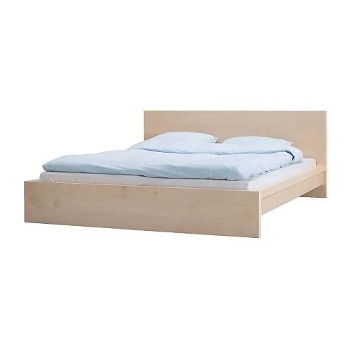 """MALM Bed frame, birch veneer Length: 83 7/8 """" Width: 66 1/2 """" Footboard height: 11 3/4 """" Headboard height: 30 3/8 """" Mattress length: 79 1/2 """" Mattress width: 59 7/8 """"  Length: 213 cm Width: 169 cm Footboard height: 30 cm Headboard height: 77 cm Mattress length: 202 cm Mattress width: 152 cm"""