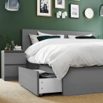 Malm High Bed Frame 4 Storage Boxes Gray Stained Queen Ikea