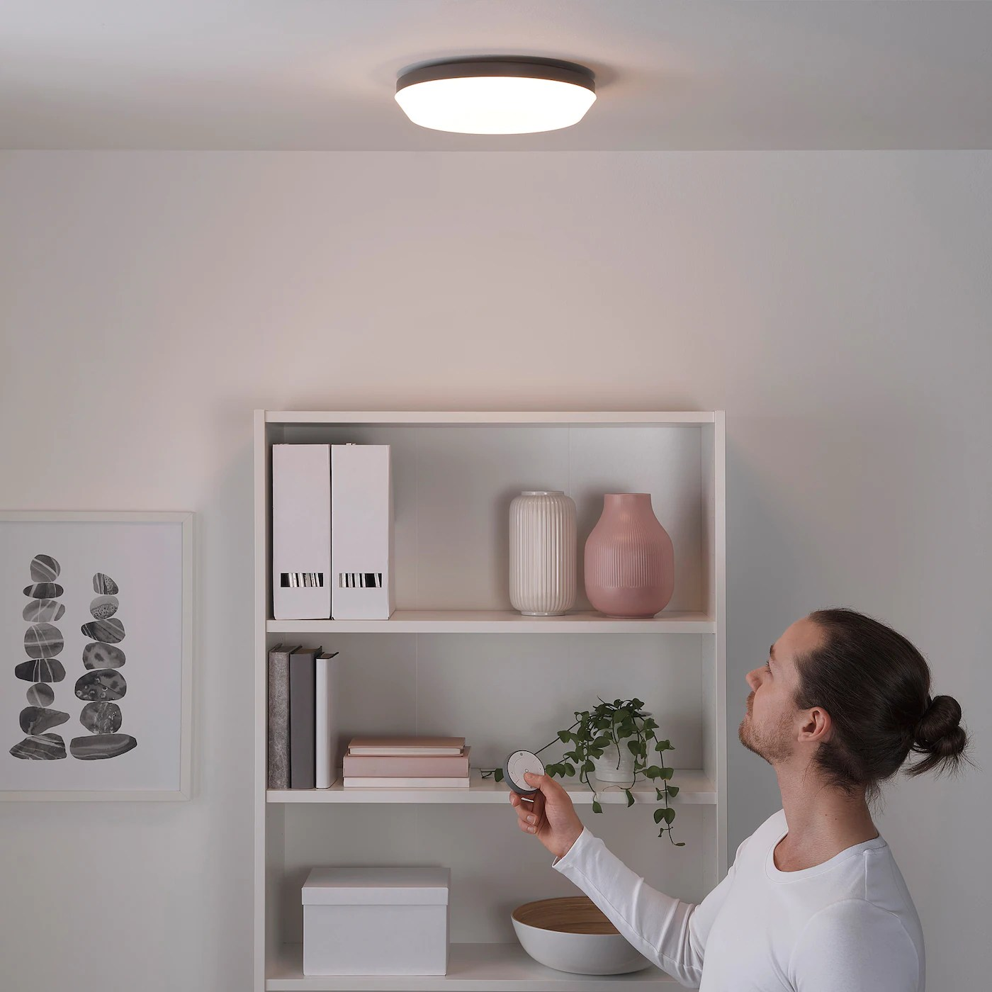 osvalla led ceiling lamp wireless dimmable gray 11