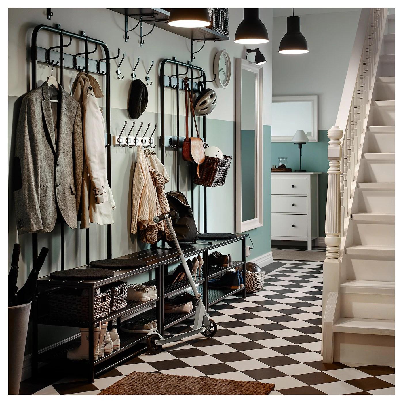 pinnig coat rack with shoe storage bench black 76x14 5 8x35 3 8