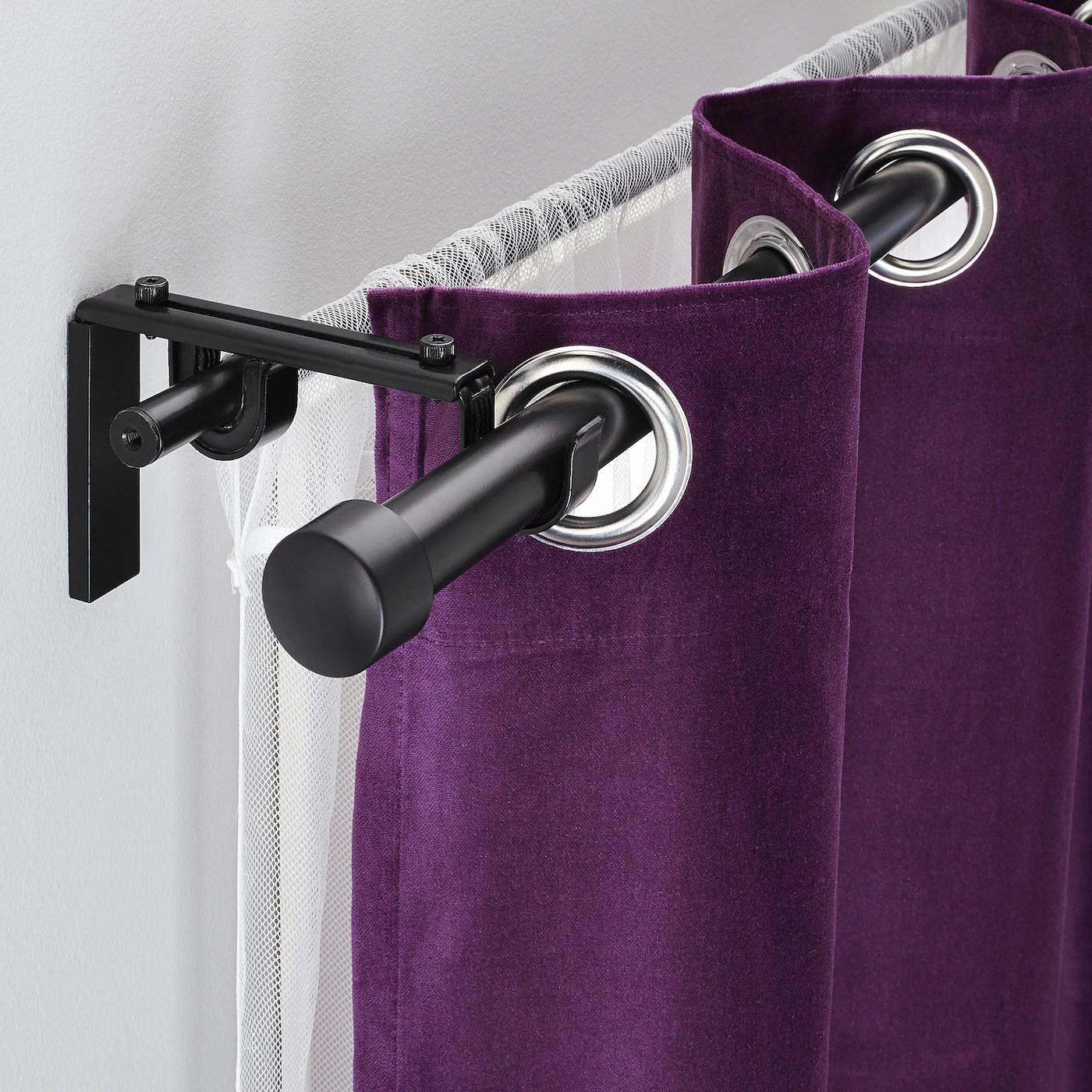 racka hugad double curtain rod combination black 82 5 8 151 5 8