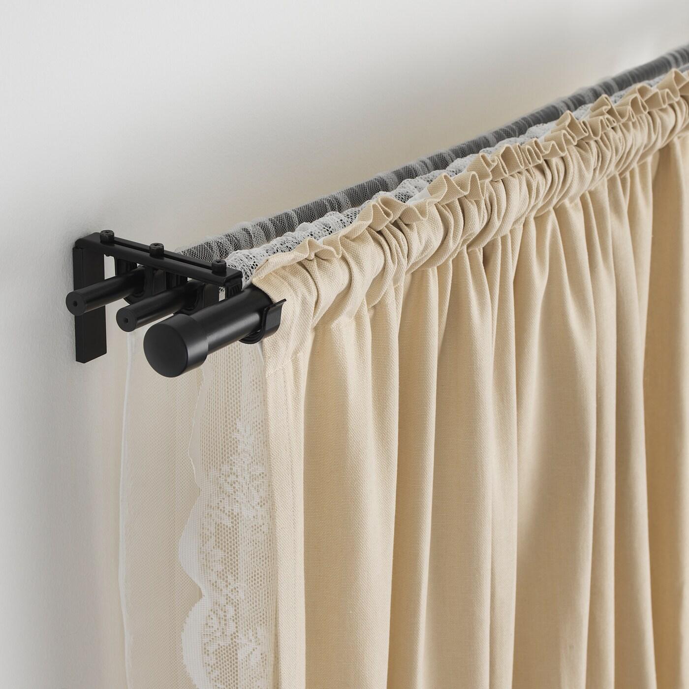 racka hugad triple curtain rod combination black 82 5 8 151 5 8