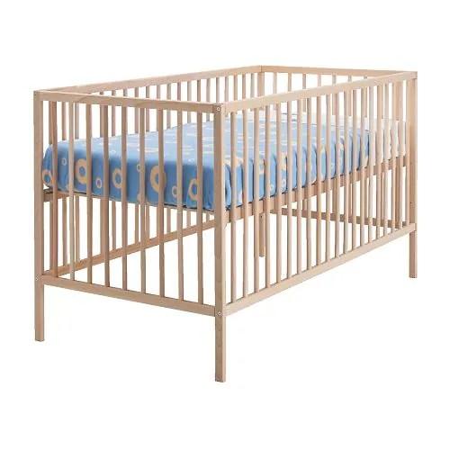 "SNIGLAR Crib, beech Length: 53 7/8 "" Width: 29 1/8 "" Height: 33 1/8 "" Bed width: 27 1/2 "" Bed length: 52 ""  Length: 137 cm Width: 74 cm Height: 84 cm Bed width: 70 cm Bed length: 132 cm"