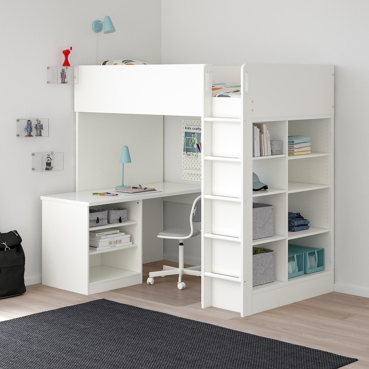 Stuva Loft Bed Combo W 2 Shlvs 3 Shlvs White Twin Ikea