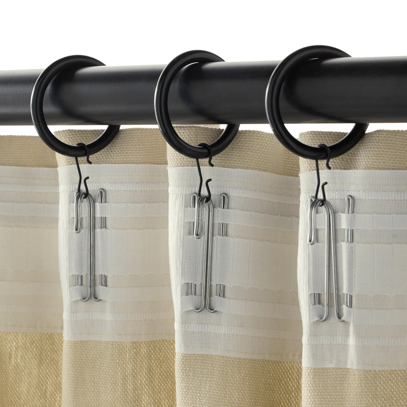 syrlig curtain ring with clip and hook black 1 1 2