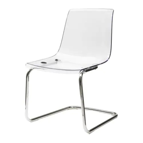 TOBIAS Chair, clear, chrome plated Width: 21 5/8