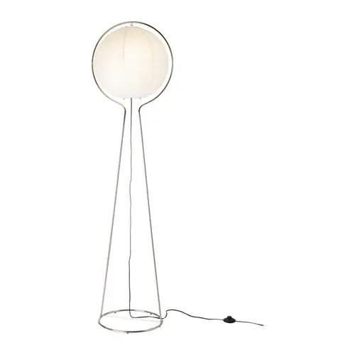 "VÄTE Floor lamp, nickel plated, white Height: 64 "" Base diameter: 14 "" Shade diameter: 16 "" Cord length: 79 ""  Height: 163 cm Base diameter: 36 cm Shade diameter: 40 cm Cord length: 200 cm"