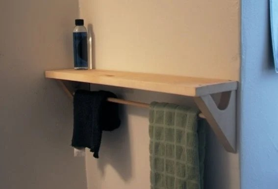 bathroom accessories shelf and towel holder