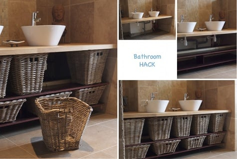 Great Wicker basket bathroom furniture