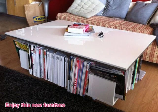 Good Lillangen end unit as coffee table with storage