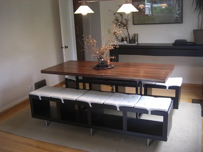 Lack shelving unit as dining benches