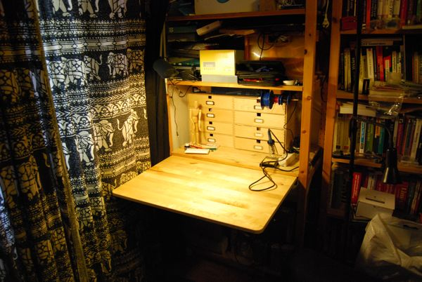 Hidden Workbench In A Bookshelf Ikea Hackers