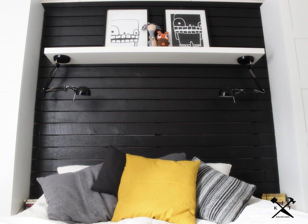 Upside down work lamp as a bedside lamp