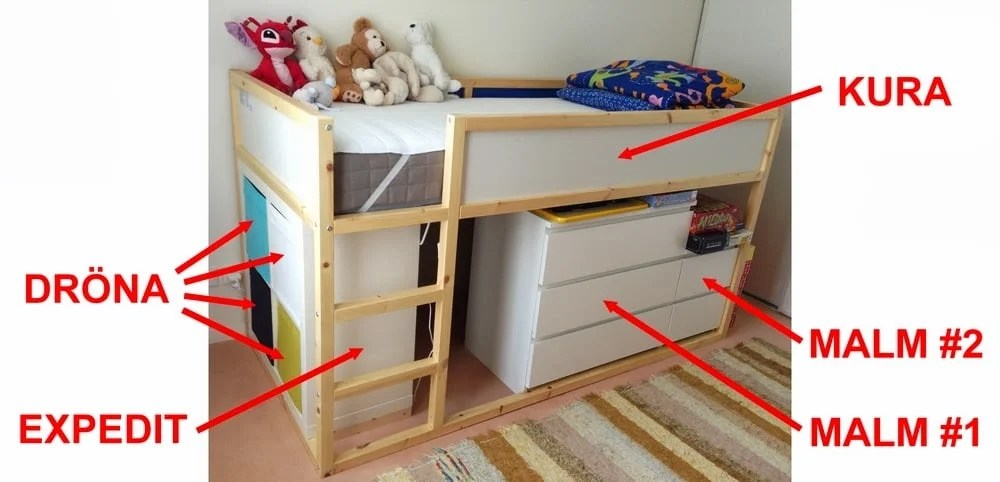 Popular Ikea furniture assembly making a secret play room