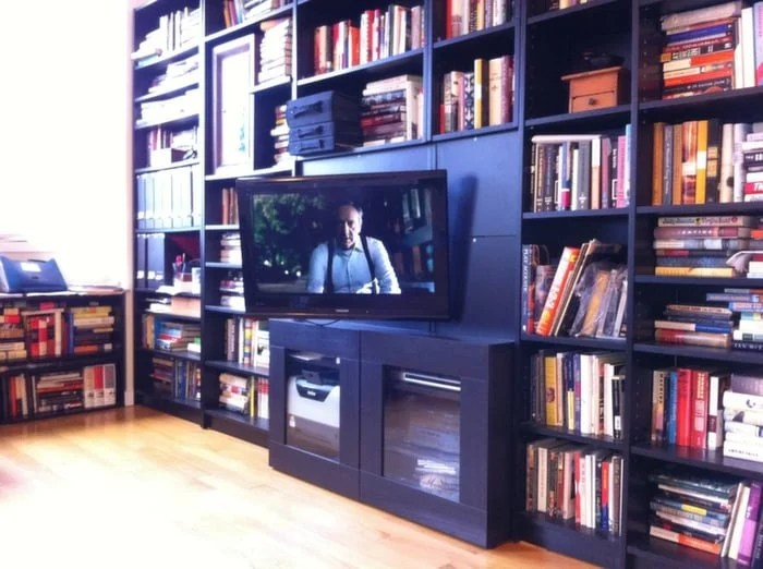 Backwards Billy Tv Mount In Built Ins With Clock Ikea Hackers