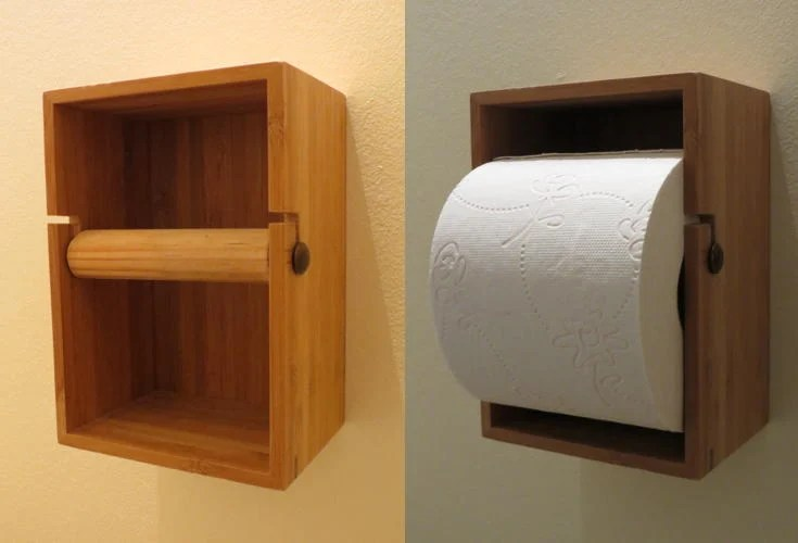 bamboo toilet roll holder