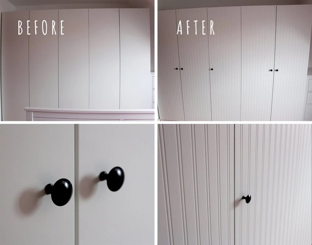 Pax Wardrobe Closet Makeover With Beadboard Wallpaper