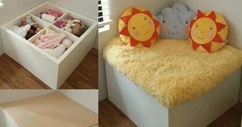kids toy storage and reading corner