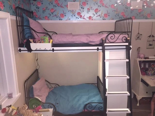 Perfect IKEA Minnen single beds into bunk beds with extras