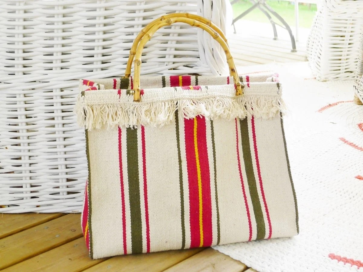 striped woven rug tote bag