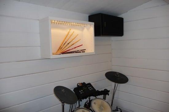 Drum sticks display hacked from STAJLIG, BESTÅ and DIODER