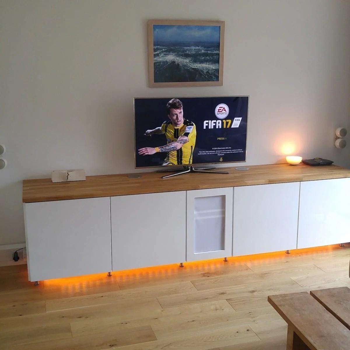 Ikea Metod Cabinets Into Av Unit Ikea Hackers