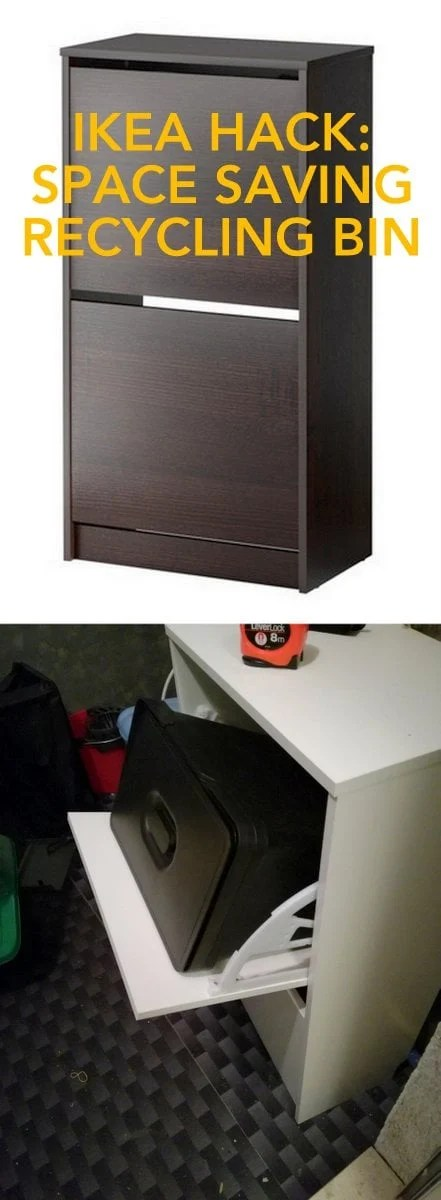 BISSA shoe cabinet turned vertical space saving trash recycling bin