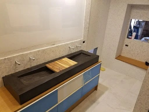 Bamboo Plywood wrapped Godmorgon for modern bathroom vanity
