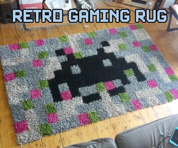 pixel art retro games rug