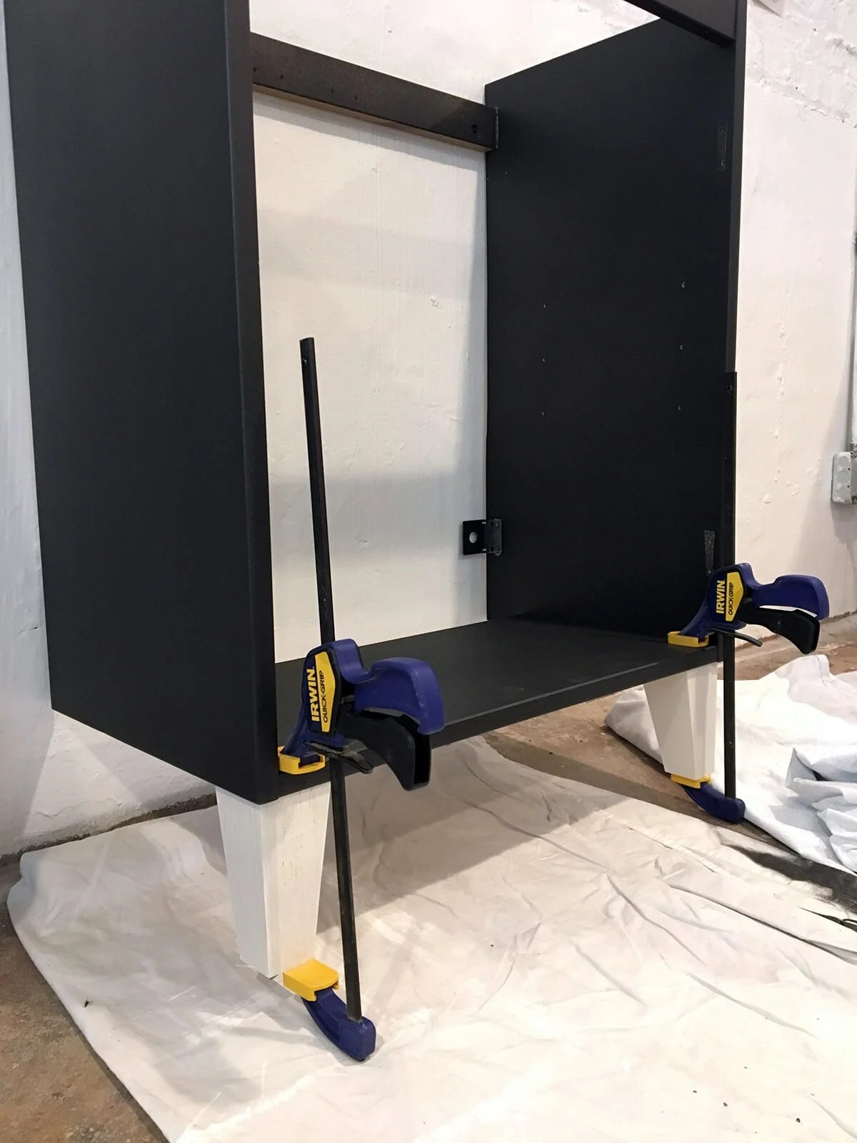 Attaching legs to an IKEA Vanity