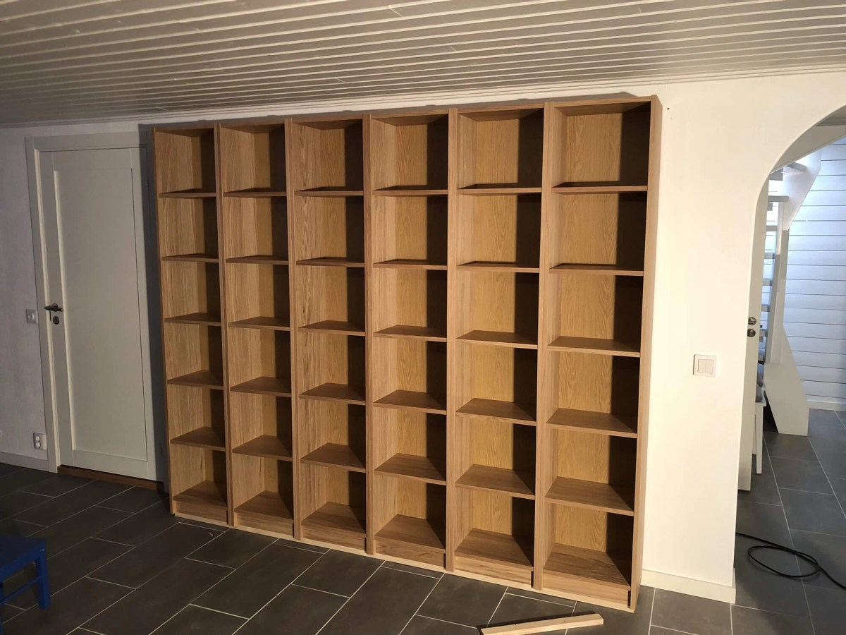 Billy Bookcase Desk: IKEA Bookcases Framed For The Basement