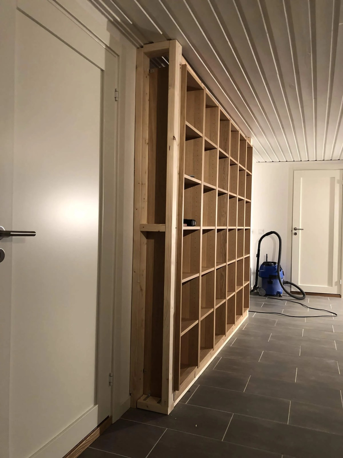 IKEA Bookcases Framed For The Basement