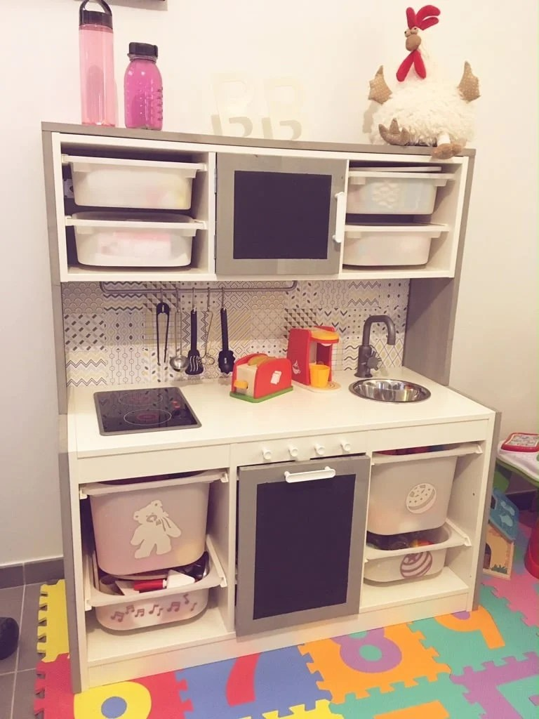 Kids kitchen with lots of storage just like a real kitchen