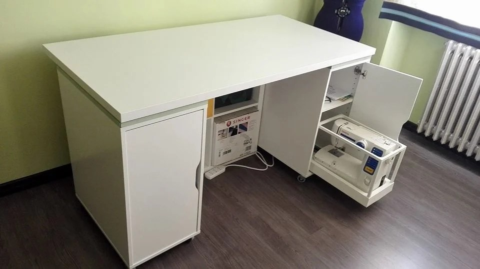 sewing table with sliding tray