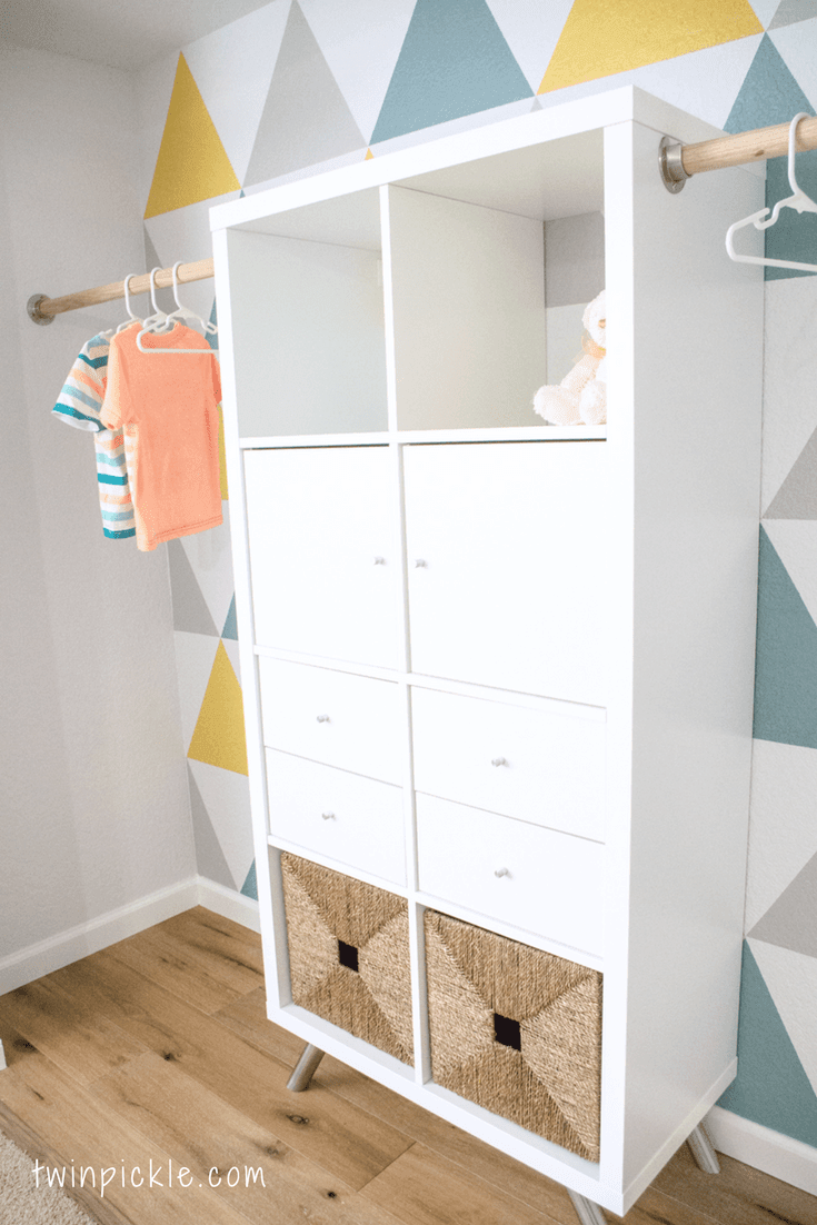Twin boys' custom closet -- an IKEA KALLAX hack