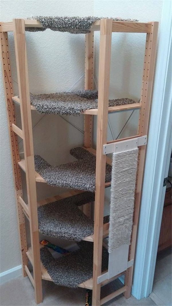 Corner cat tree out of IVAR shelving
