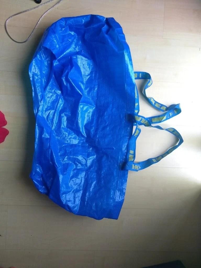 How to go to the bathroom in a wedding dress: Bridal bathroom helper IKEA Blue Bag Hack