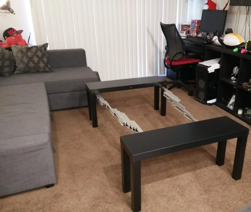 board game table made from tv units and it 39 s extendable. Black Bedroom Furniture Sets. Home Design Ideas