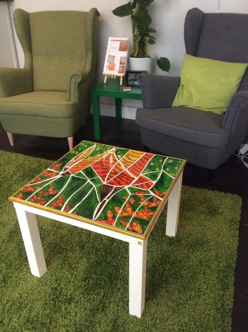 Lack side table with recycled art