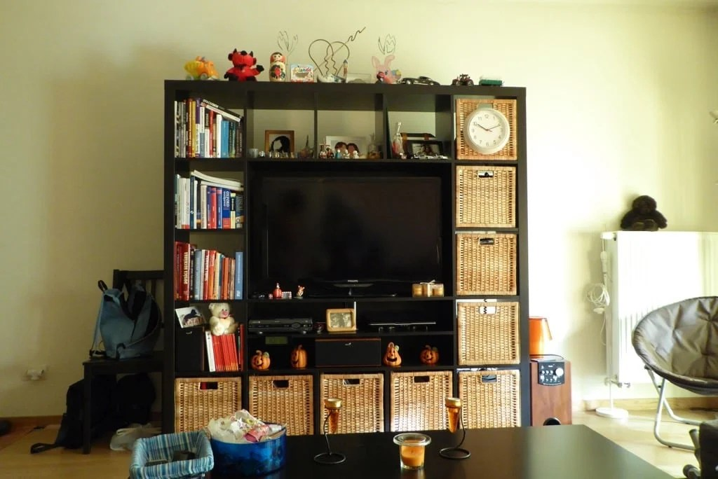 Genius Idea Ikea Expedit Shelves With Baskets For Storage: Rattan Doors For The EXPEDIT / KALLAX Cubbies