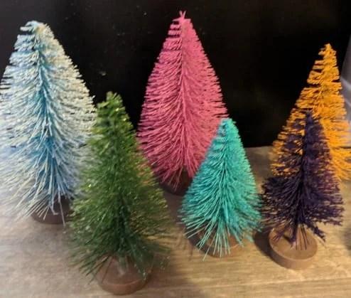 Make delightful mini Christmas trees in rainbow colors