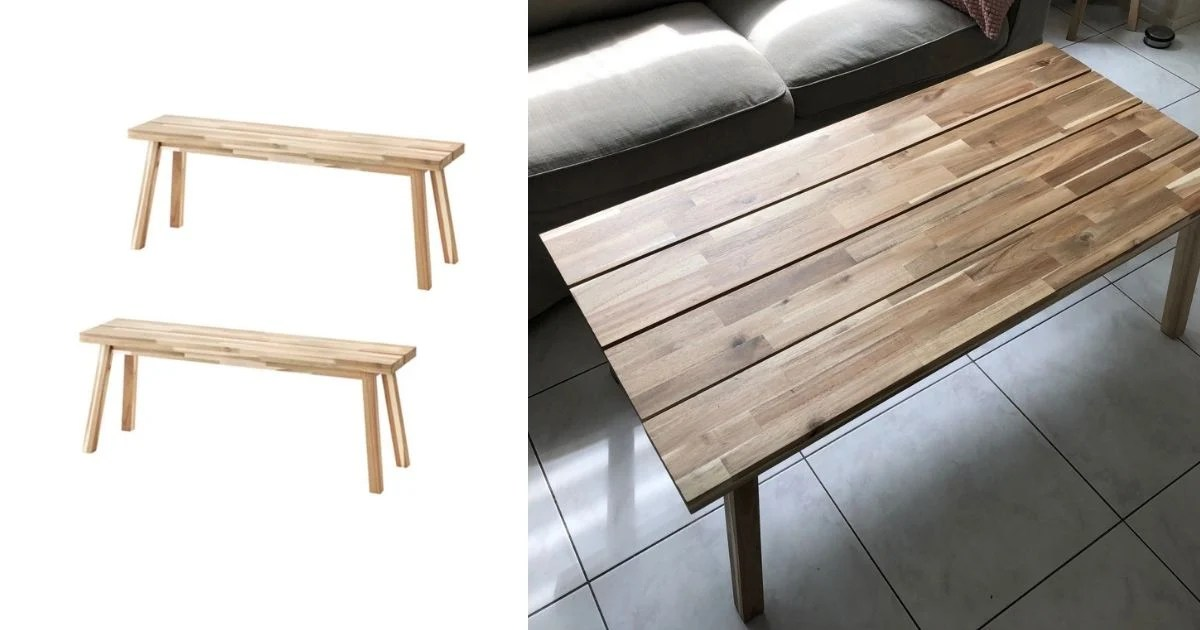 natural wood coffee table hacked from 2