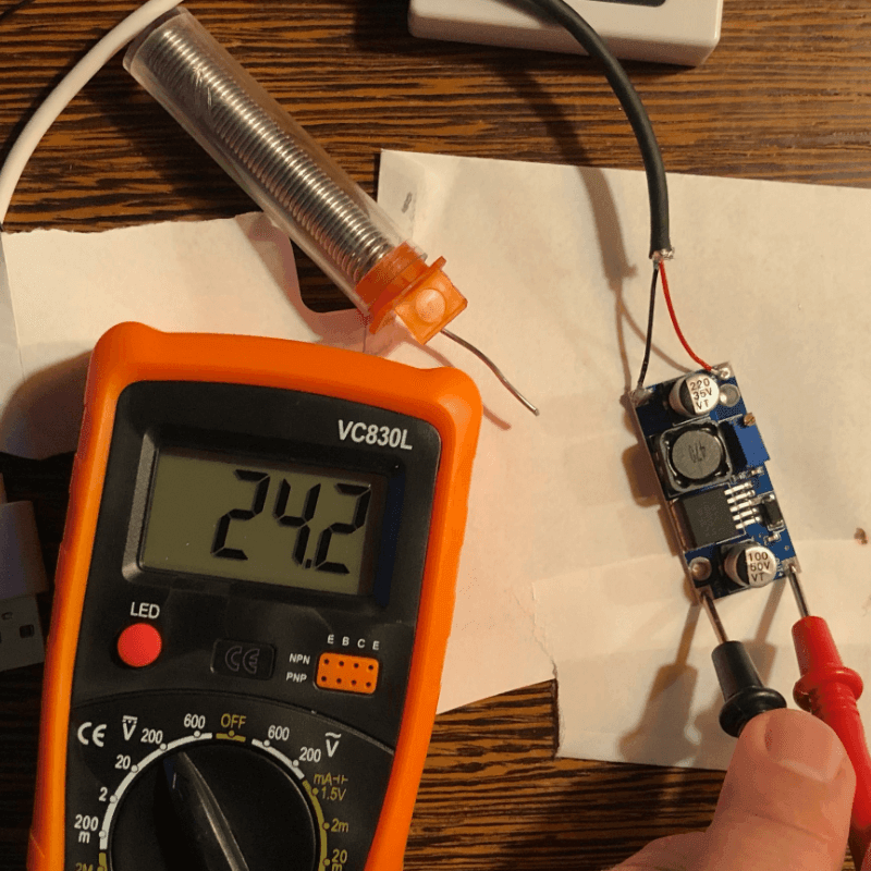 digital multimeter to test voltage output