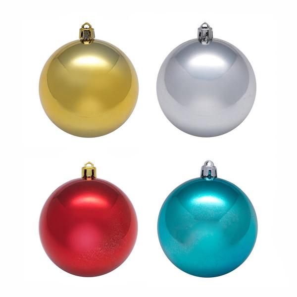 Елочные шары разноцветные, небьющиеся, из пластика, 4 ...