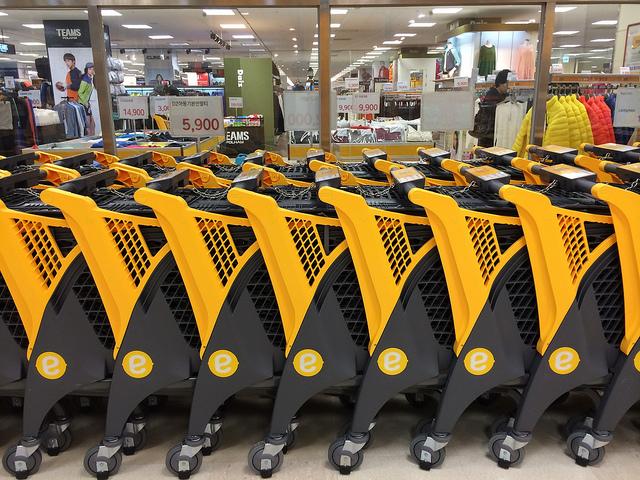 有設計感的超市手推車--韓國e mart超市手推車