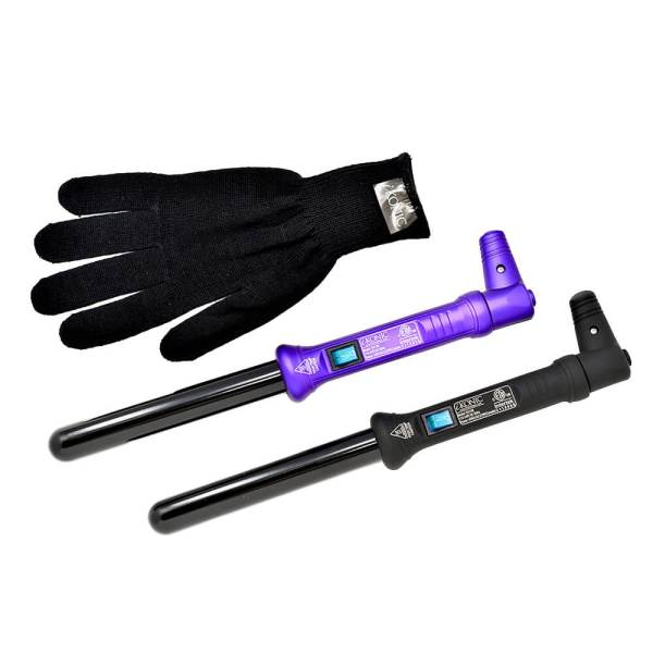 25mm curling wands purple and black with a clove