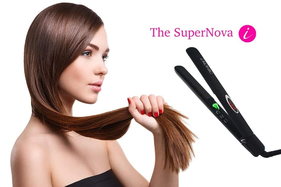 a women with a hair straightener