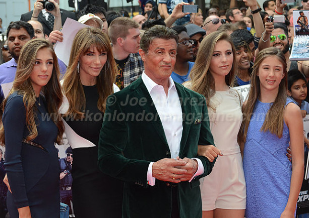 Sylvester Stallone and family at the World Premiere of The Expendables 3 © Joe Alvarez